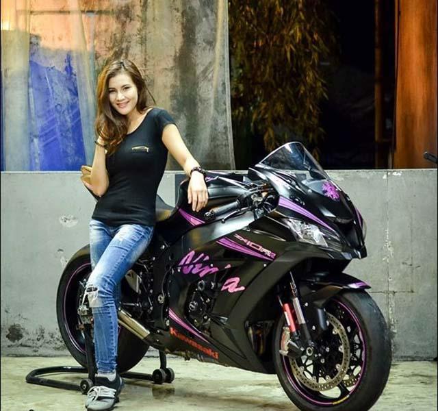 Hotgirl Thái Lan nhẹ nhàng bên Kawasaki ZX