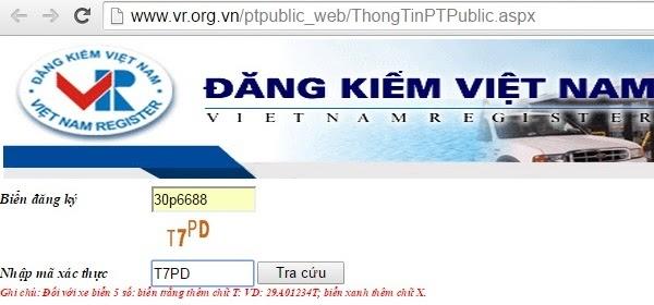 Trang web tra cứu biển số xe online